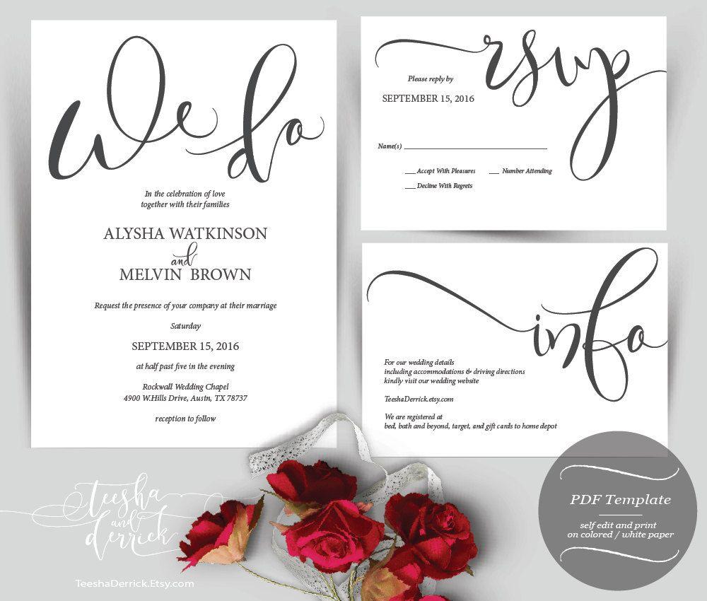 We Do Wedding Invitation Instant Download Printable PDF Template ...