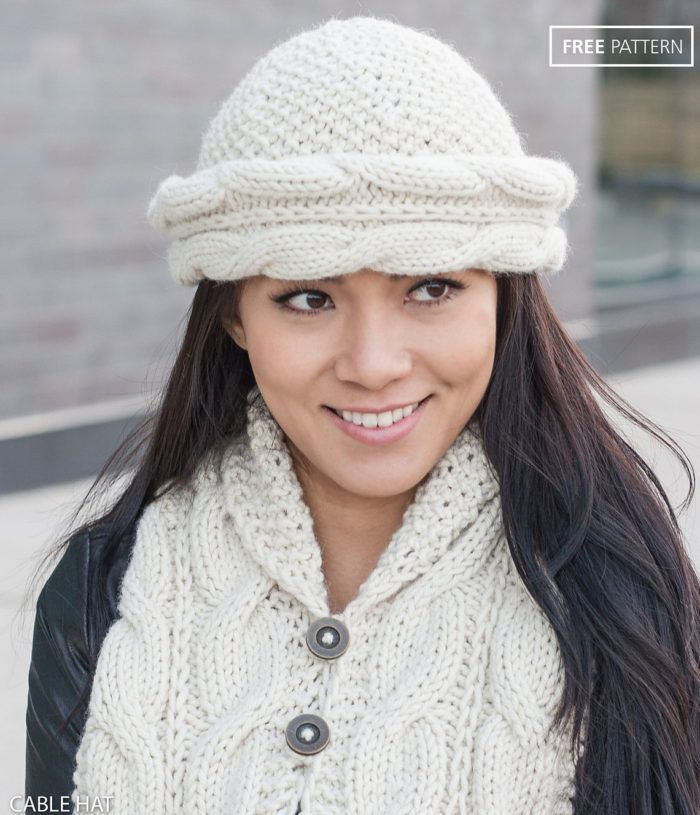 Free Knitting Pattern For Cable Brim Hat And Cable Shawl Collar Set