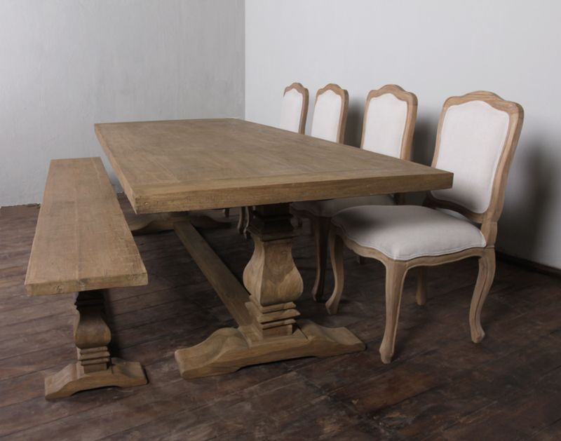 Provence Trestle Dining Table, Distressed Salvage Teak 96, 8 Foot