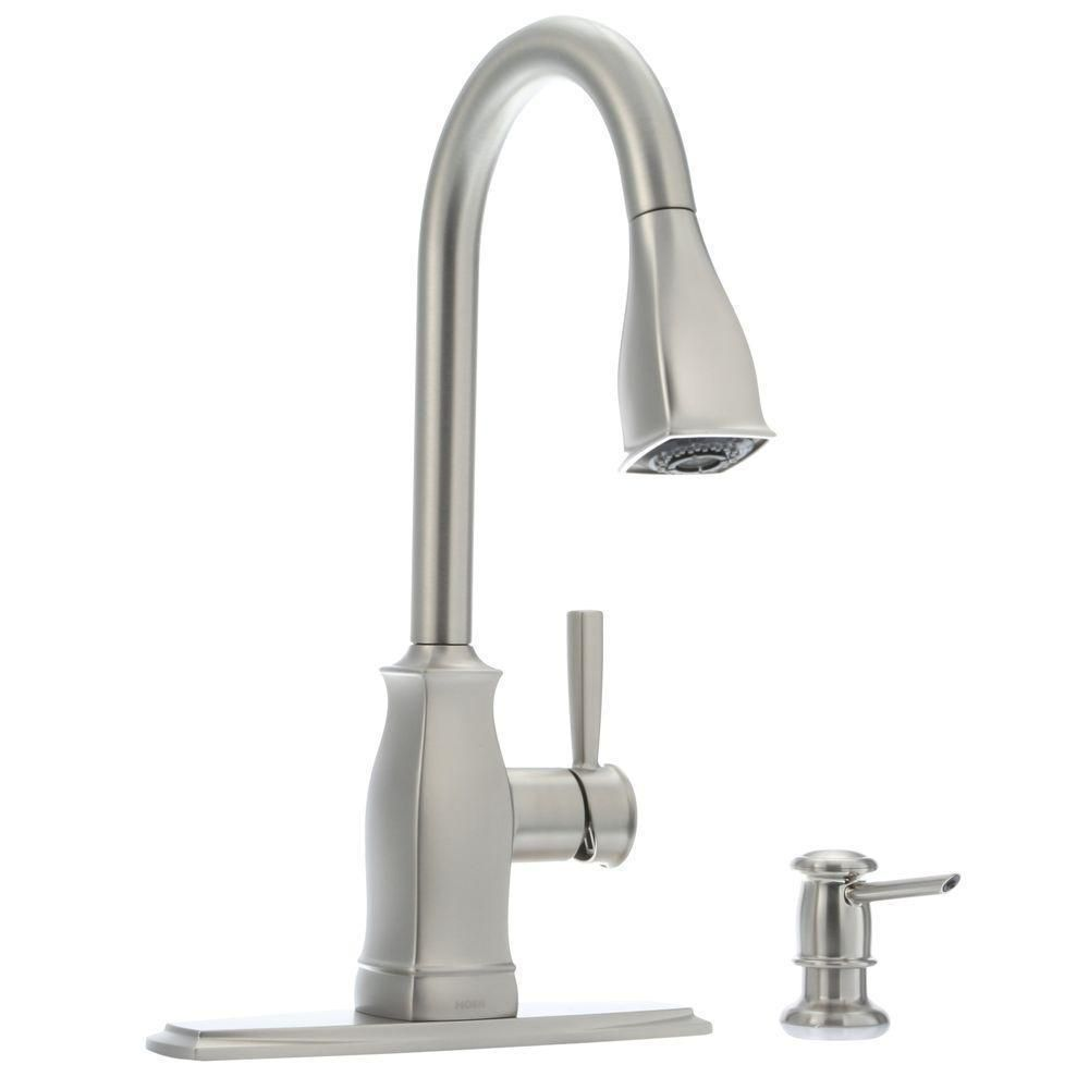 Moen Hensley Single Handle Pull Down Sprayer Kitchen Faucet New