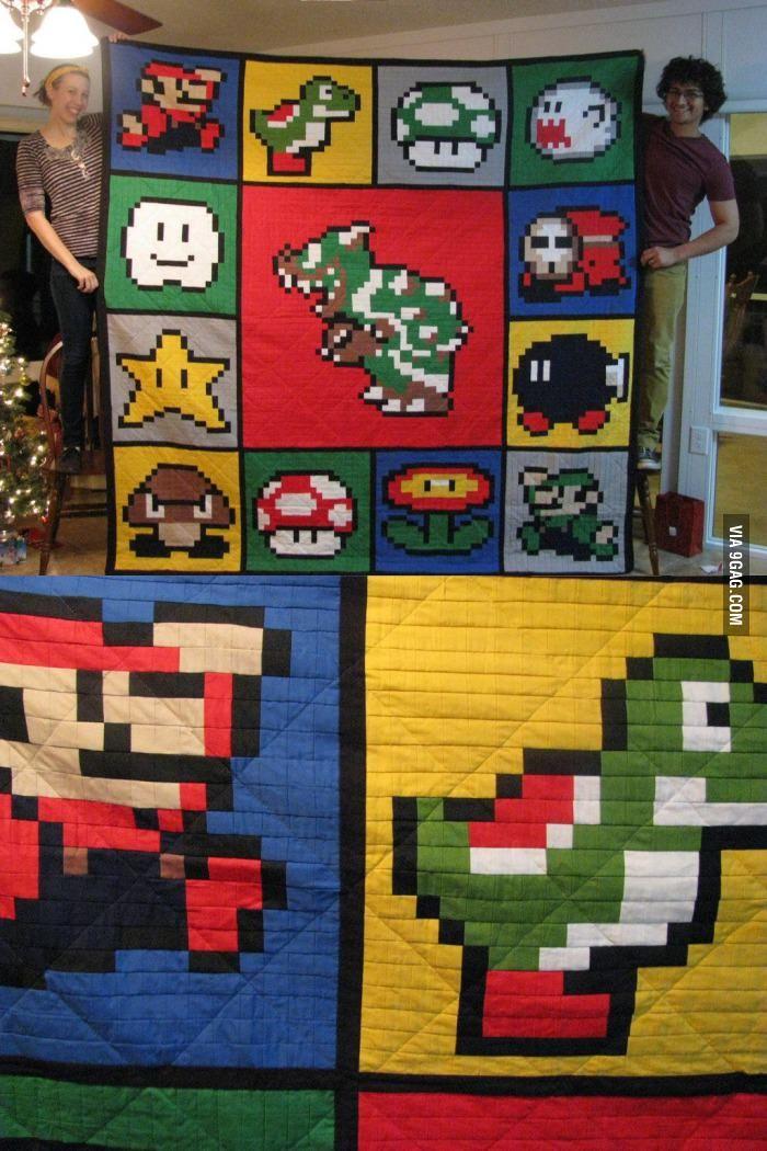 Super Mario Brothers Quilt Pixel Quilting Quilts Mario Quilt