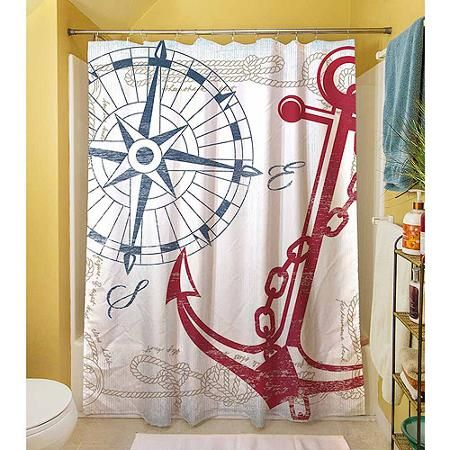 Thumbprintz Anchors Away White Shower Curtain, ...
