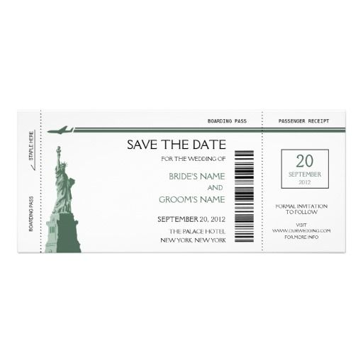 Boarding Pass Save The Date Invitations  Nyc Wedding Details