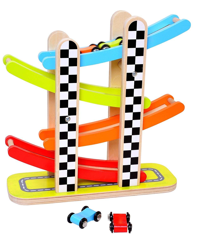 pidoko kids car racer track playset - 4 levels zig zag