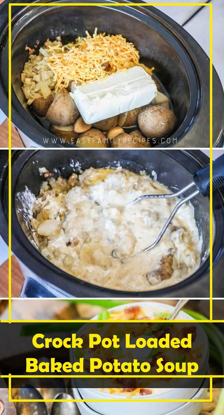 THE BEST Crock Pot Loaded Baked Potato Soup | Recipes #potatosoup