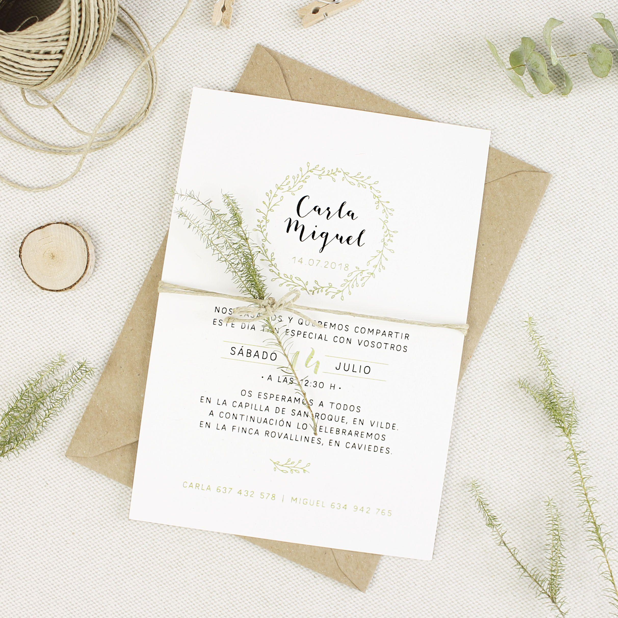 Invitaci n boda corona verde en 2019 bodas - Bodas sencillas y romanticas ...