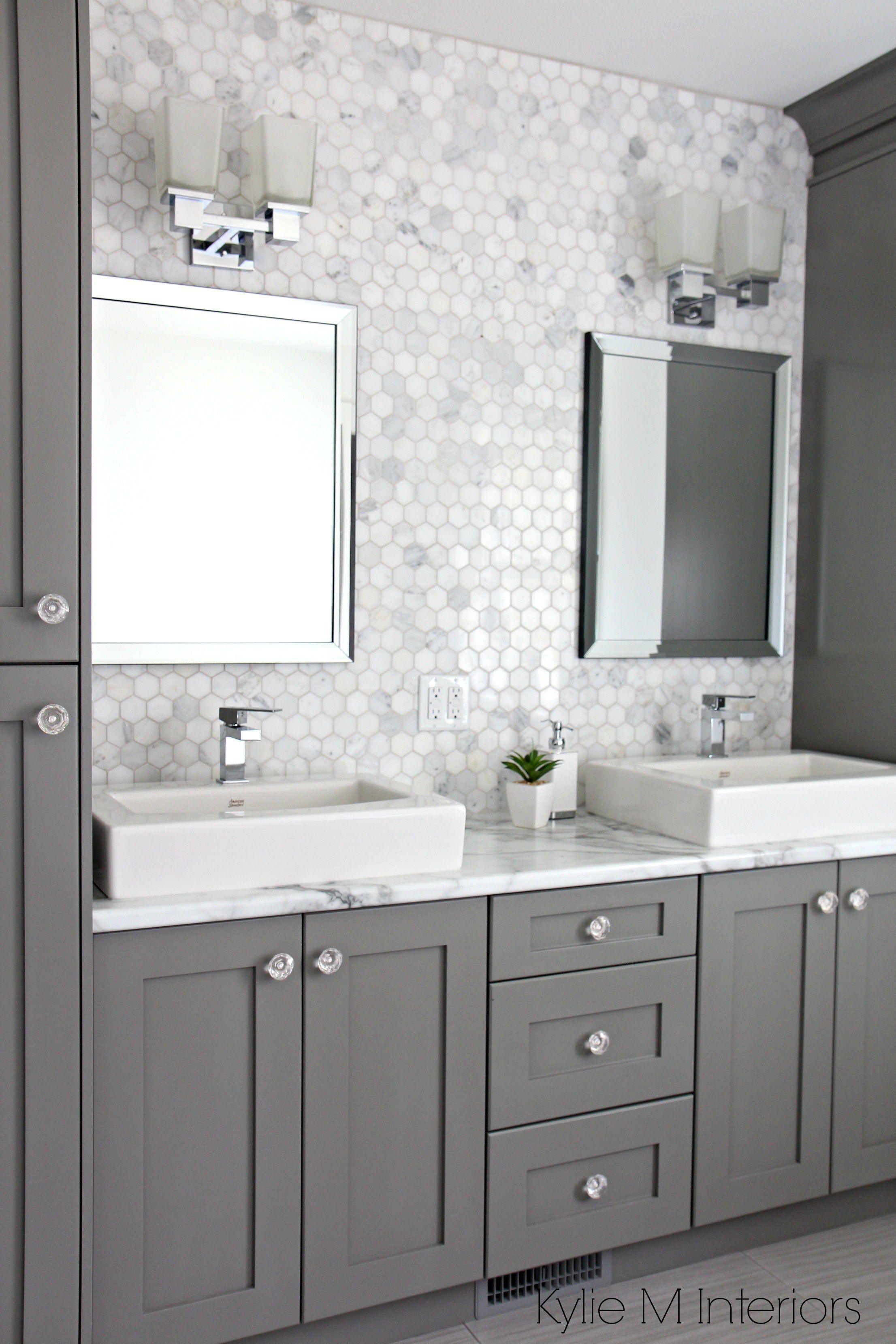 Entire wall tiles behind sinks. Marble backsplash in ...