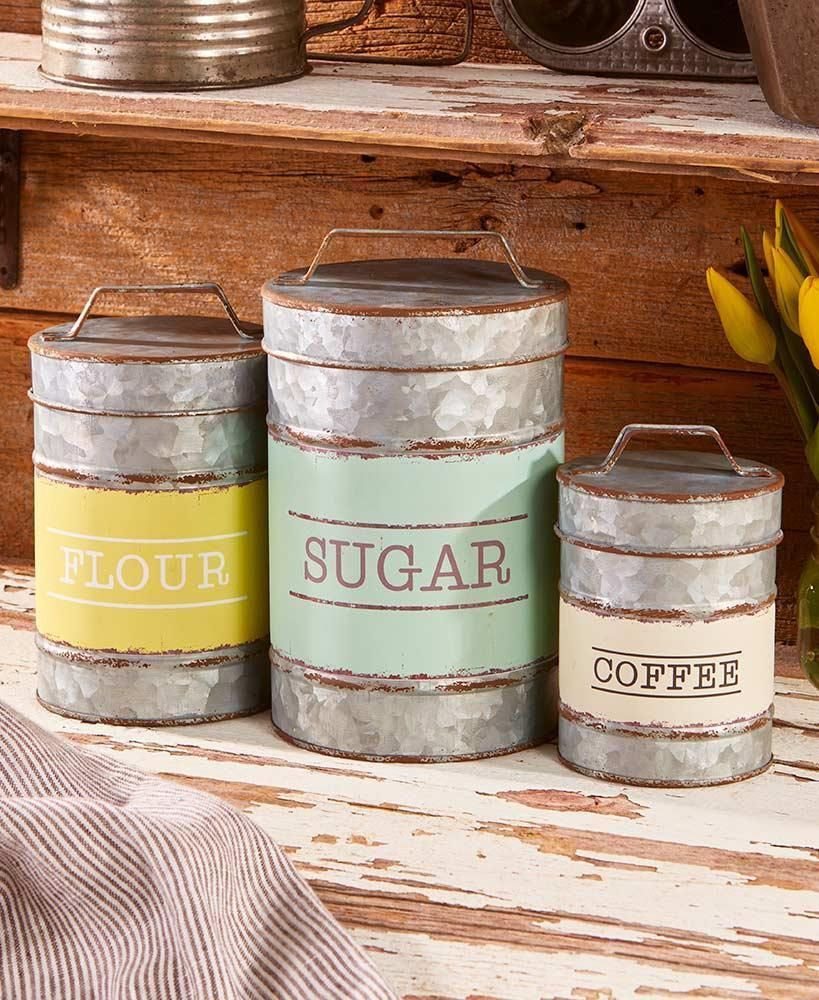 Set Of 3 Metal Rustic Country Primitive Farmhouse Canister Set
