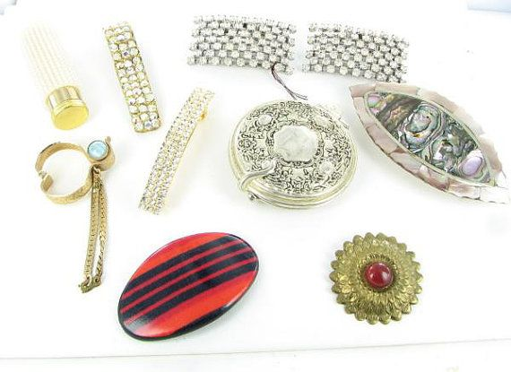 9 pc lot collection glove clip compact by vintagejewelrylane