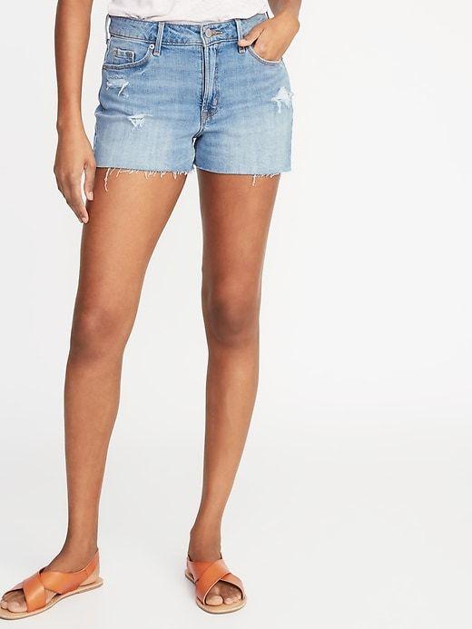 1e164d880c Old Navy Women's High-Rise Secret-Slim Pockets Distressed Denim Cut-Offs - 3 -Inch Inseam Dark Galaxy Size 16