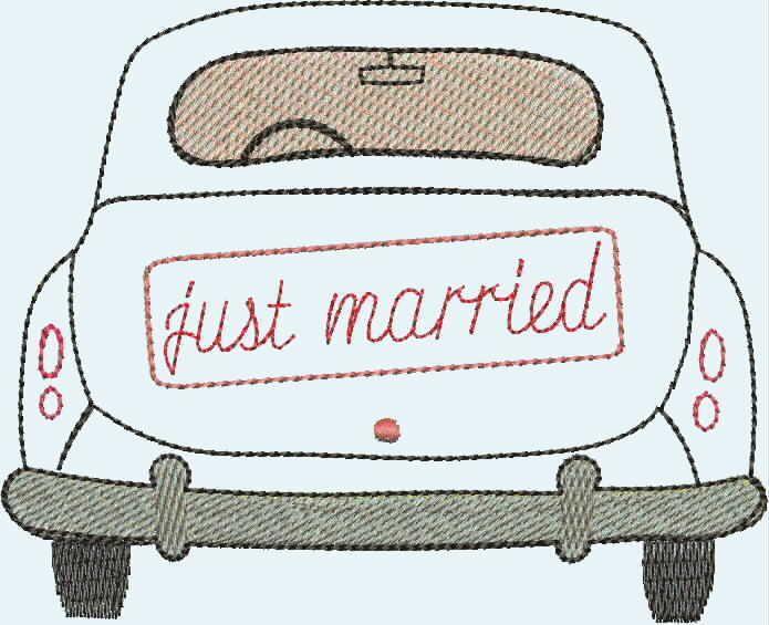 """stickdatei """"just married"""" auto von lieblingstante auf"""