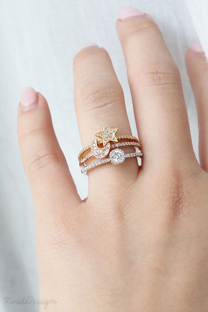 Moon, Star & Sun Ring Set, Paved Stacking Ring in Rose Gold, Yellow