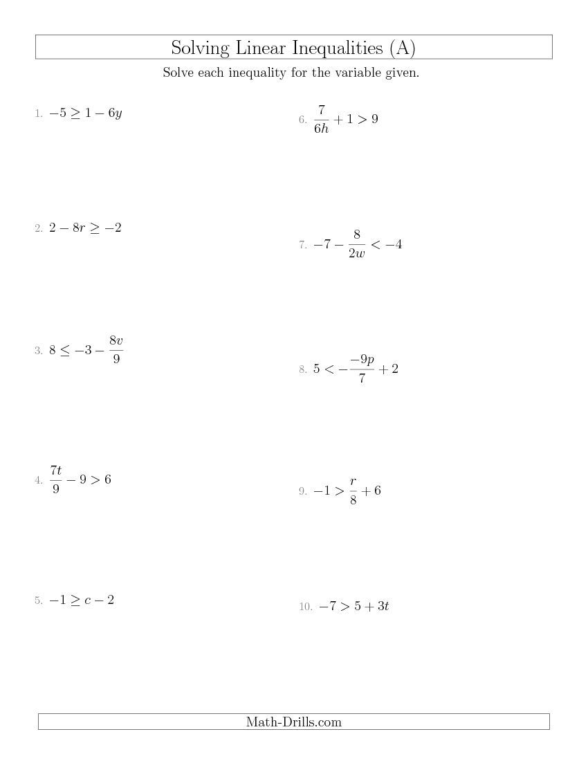Solving Linear Inequalities Mixed Questions A Algebra Worksheet Linear Inequalities Solving Linear Equations Algebra Worksheets