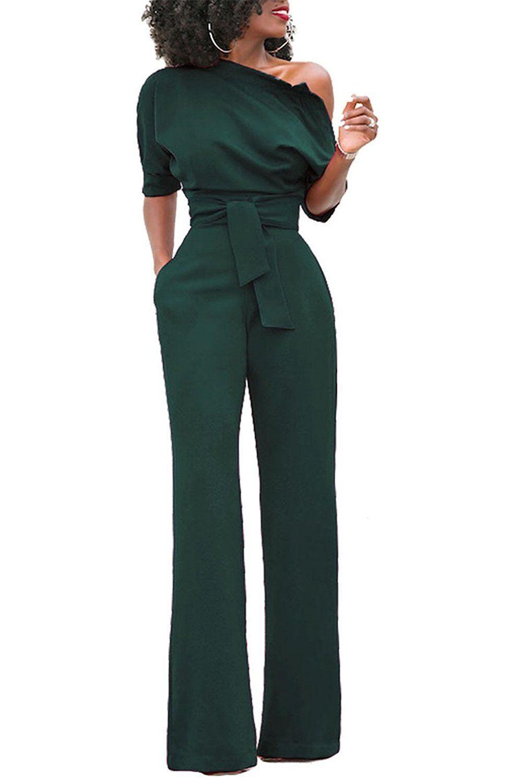 c80b89f771d Sz S Amazon.com  ONLYSHE Women s Sexy One Shoulder Solid Jumpsuits Wide Leg  Long Romper Pants with Belt  Clothing sz S
