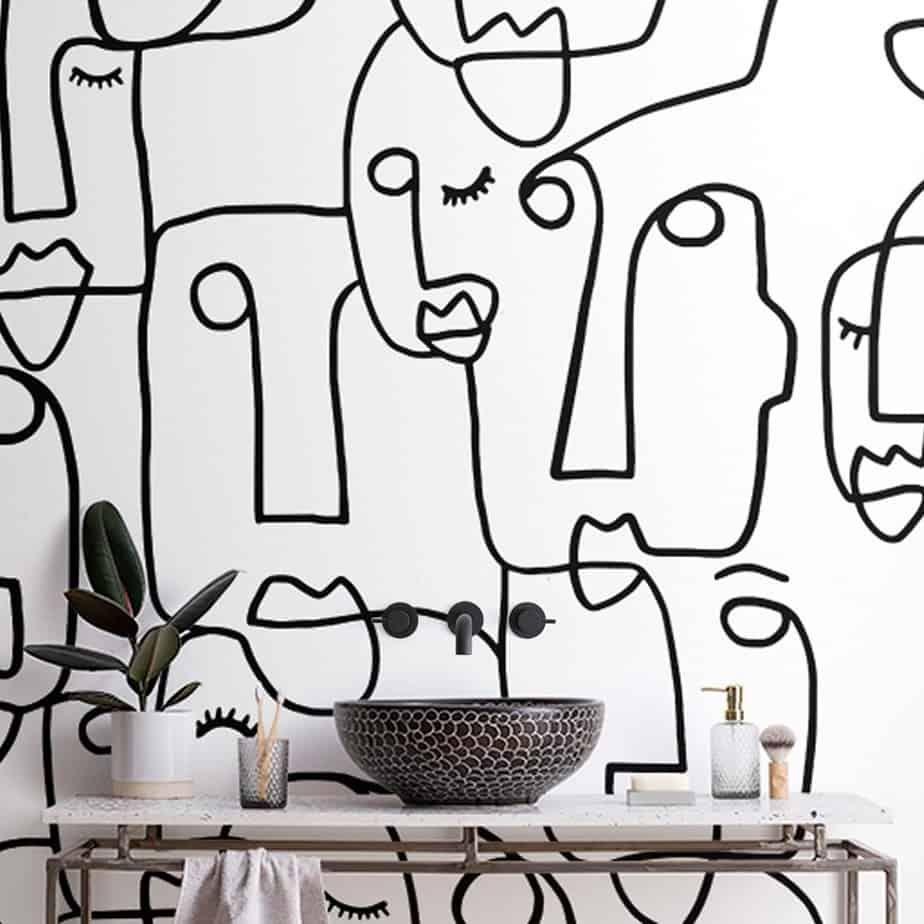 Bathroom Wallpaper Ideas For 2021 Face Line Art Design Wallpaper Trends Geometric Wallpaper Design Modern Wallpaper Designs