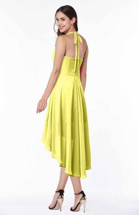 Pale Yellow Casual A-line Halter Half Backless Asymmetric Ruching Plus Size Bridesmaid Dresses