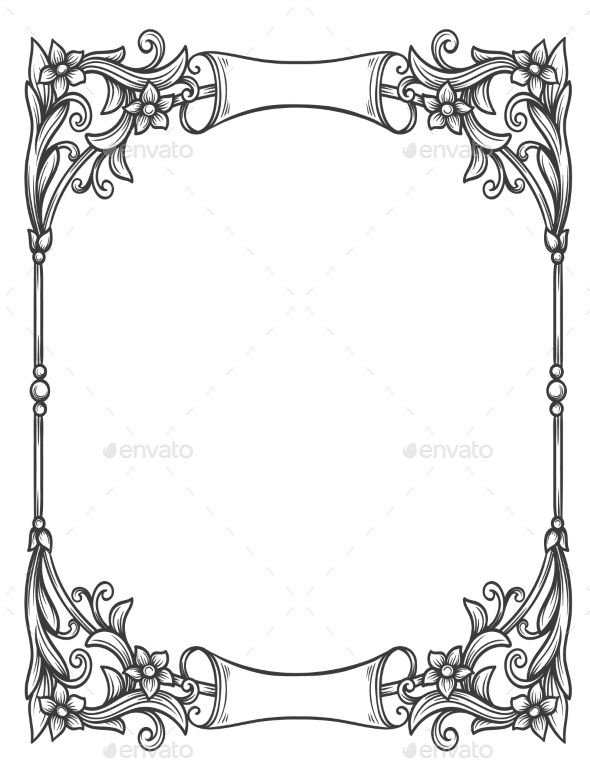 Vintage Decorative Floral Frame Drawing Frames Page Borders Design Clip Art Borders