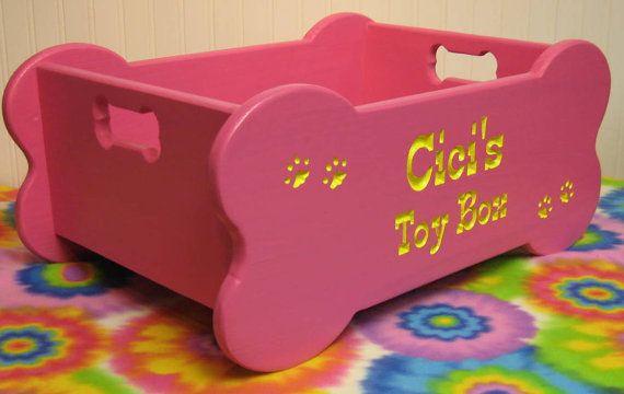 Dog Toy Box Xl Bone Shape With Bone Handles Animaux