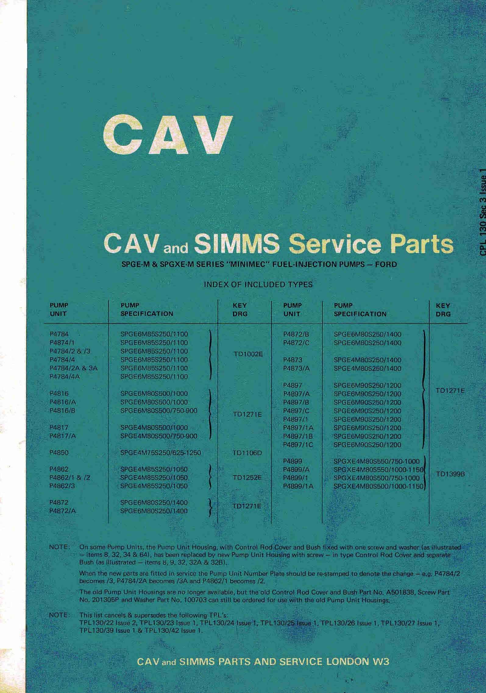 Cav Amp Simms Spge M Spgxe M Inimec Injectorsford Parts Manualcovers Cav Spg6m Fuel Pumpsillustrated Parts Manualevery Nut Ford Parts Nuts And Bolts The Unit