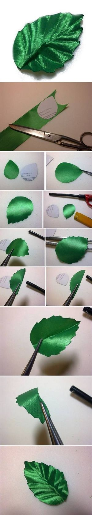 DIY Ribbon Leaf DIY Ribbon Leaf by diyforever ༺✿ƬⱤღ http://www.pinterest.com/teretegui/✿༻