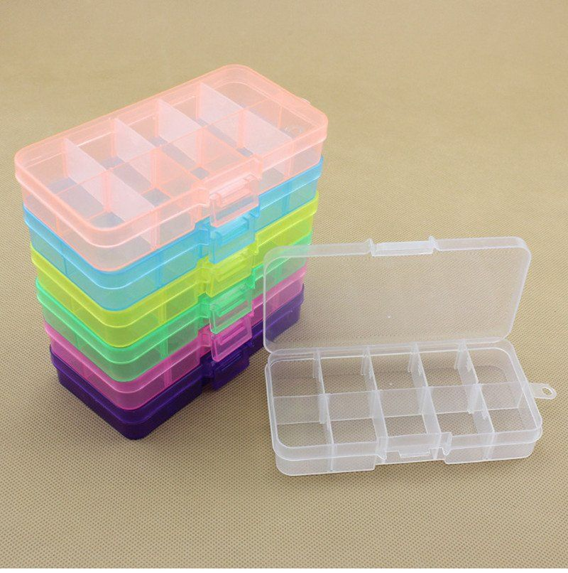 Storage Organizer Containers Jewelry 10 Slots Compartment Plastic Adjustable Boxes Craft Case Jewelry Craft Organization Plastic Box Storage Beading Tools