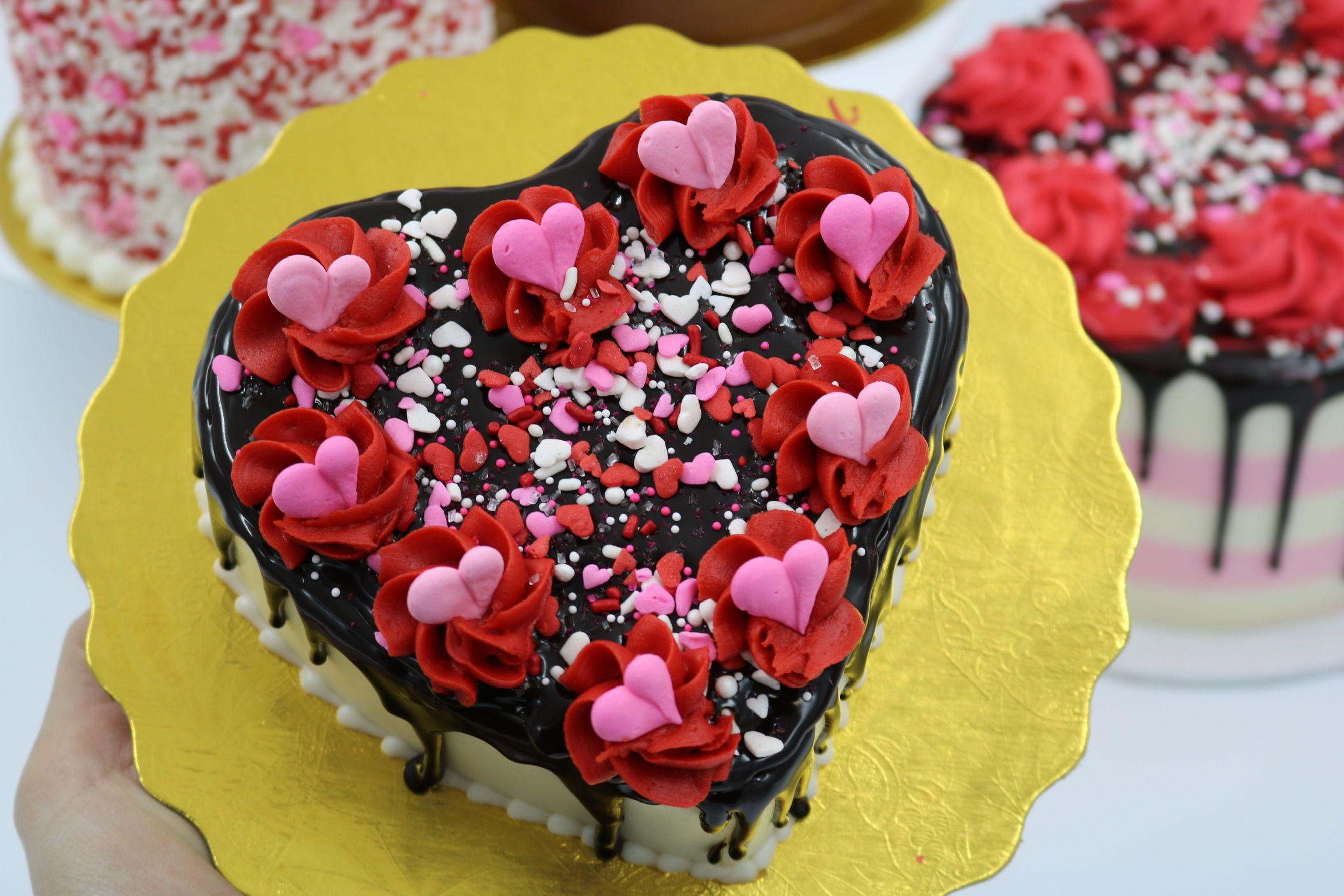 Valentine Chocolate Ganache Drip Cake Heart Shaped By 3 Sweet Girls Cakery Cake Chocolate Ganache Drip Cake Valentines Day Cookies