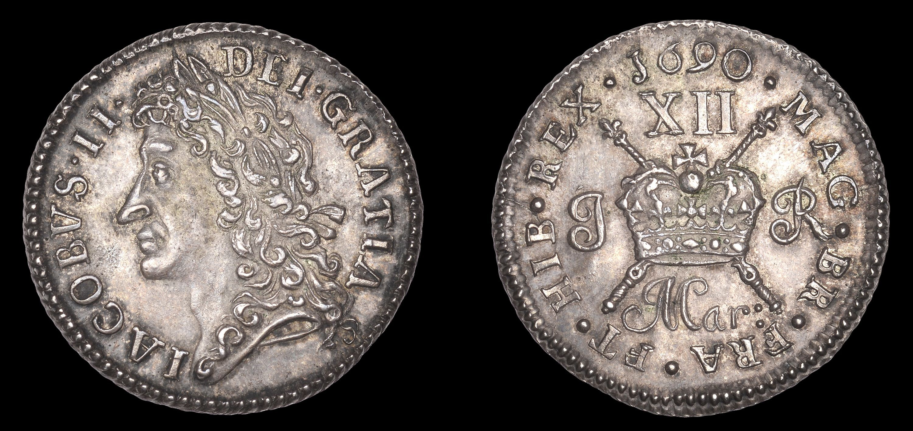 Gunmoney coinage, Proof Shilling, 1690 Mar:, in silver, James press, foliate bands on crown, sceptre to stop between br fra, edge grained, 7.03g/12h (S 6581PPP; DF 431; KM. 94a; cf. LaRiviere 169, same dies). Extremely fine with reflective fields, toned, very rare