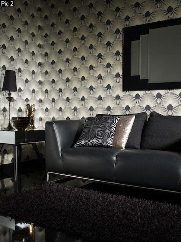 WU128 Wallpaper - Art Deco - Geometric Fan Motif - Surrey - Faire Un Plan Interieur De Maison Gratuit