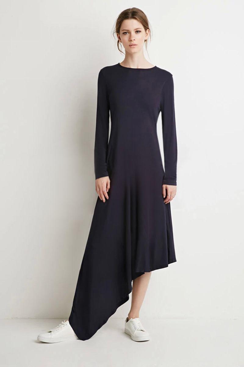 Long sleeve roundneck asymmetrical side curve dress black lovley