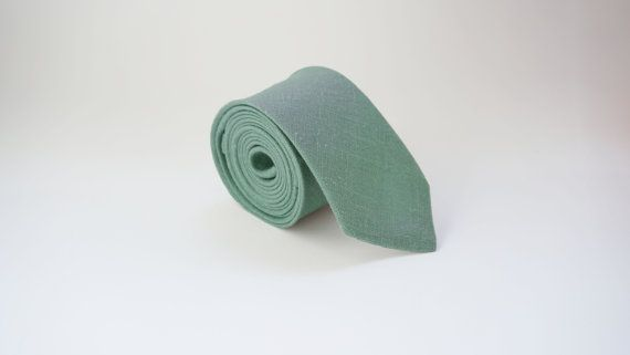 Sage green linen skinny tie mens neck tie linen tie by MenLau