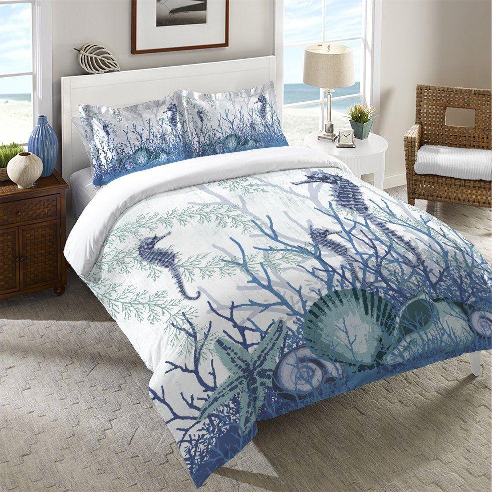Aquatic Seahorses And Sea Shells Duvet Cover Laural Home