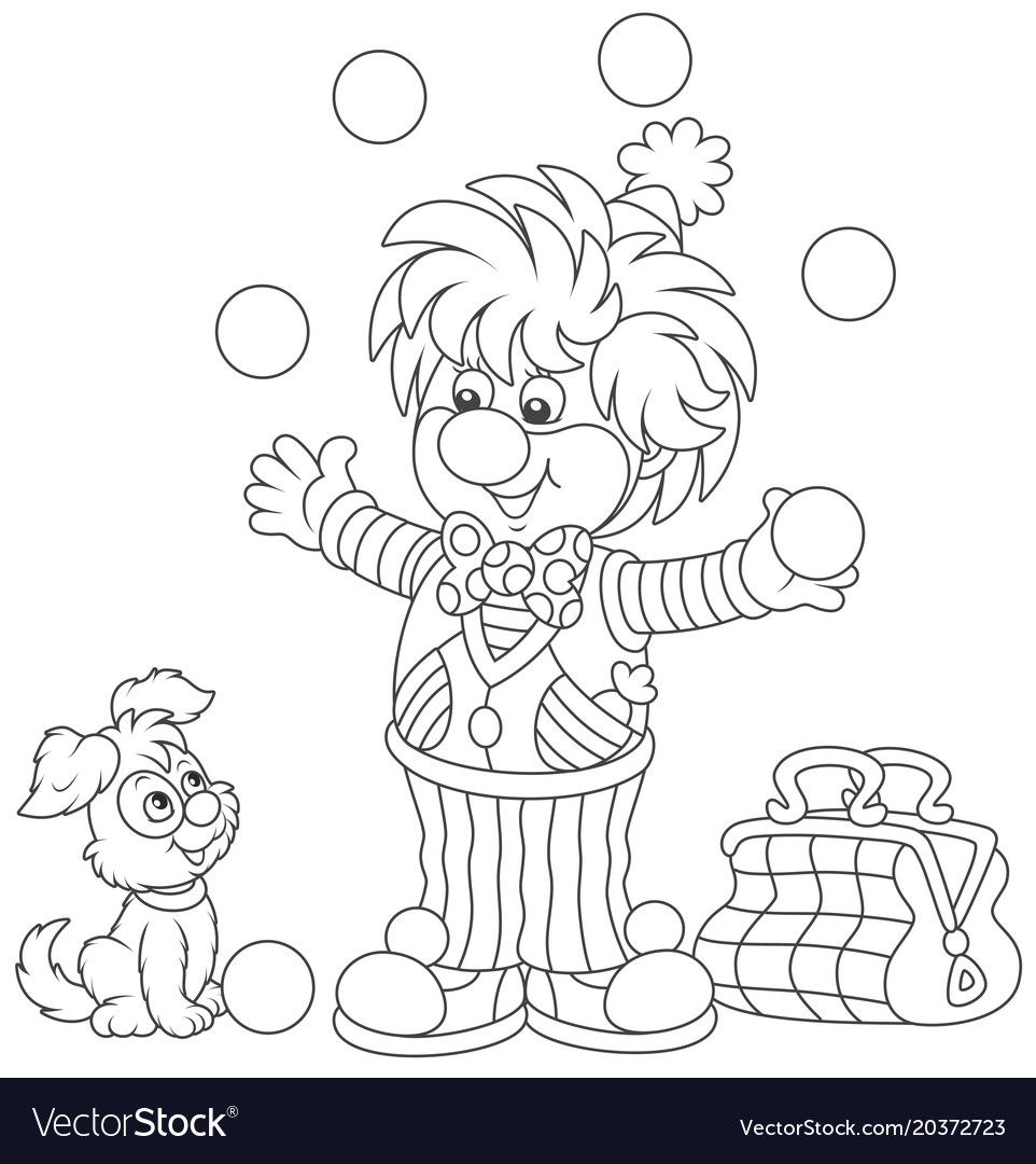 Circus clown juggling with balls vector image on