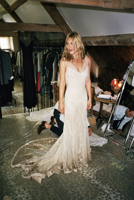 kate moss in her john galliano wedding dress