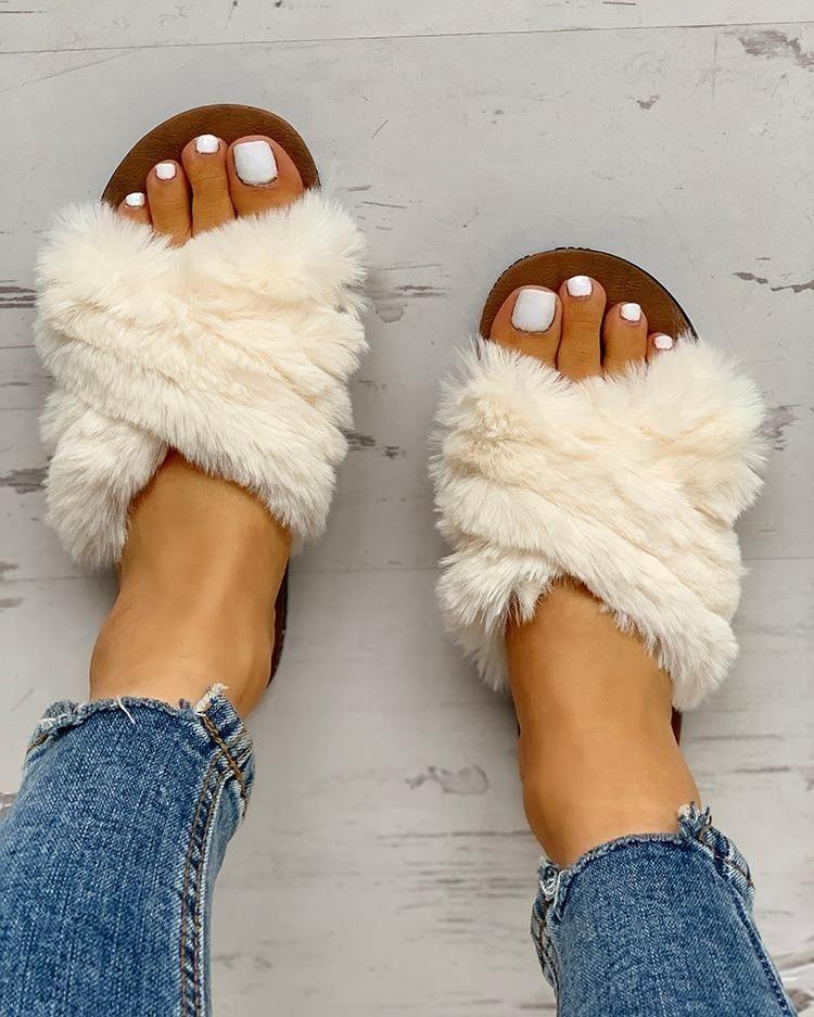 Fluffy Design Crisscross Detail Flat Shoes 1