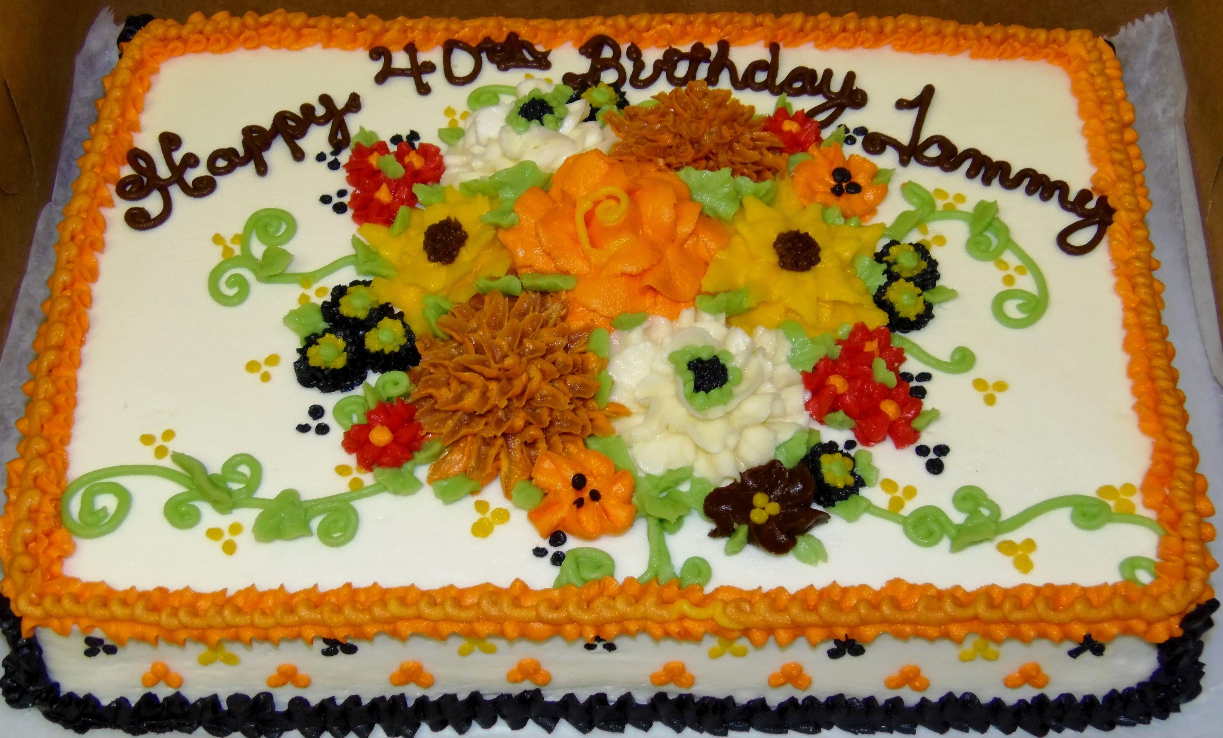 Buttercream design in a Fall floral  mixed bouquet with vines, and ruffle boarders~ Abingdon, Va.  http://www.facebook.com/nancysfancys81