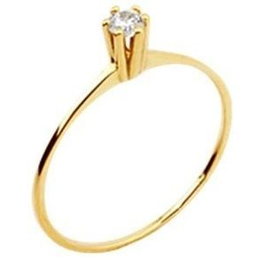 Anel Solitário com 6 garras e Zircônia Branca em Ouro Amarelo 18k-750 Lindo  anel ac6d368ca7
