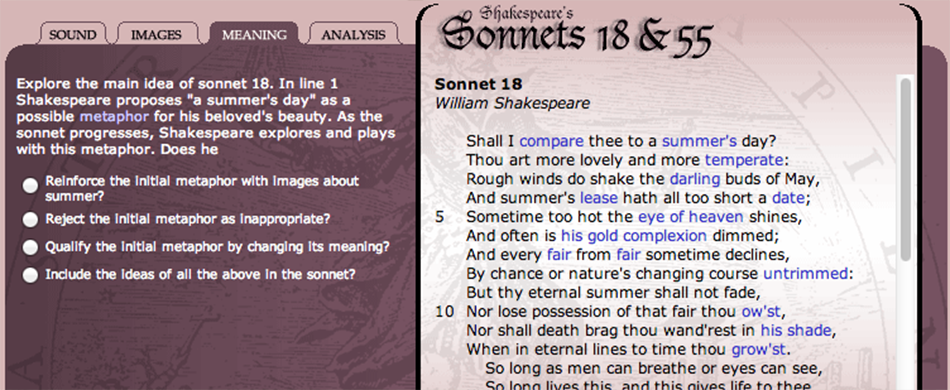 english poetry shakespeare s sonnets explore sound  english poetry shakespeare s sonnets 18 55 explore sound images and meaning