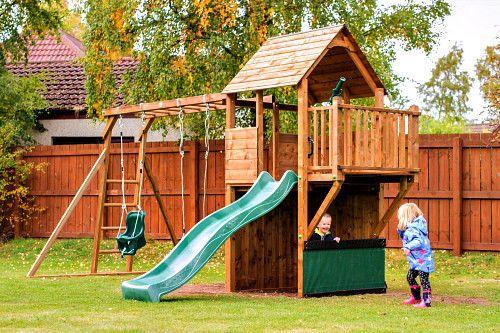 Wooden Outdoor Play Center Childrens Climbing Frame Set Playhouse ...