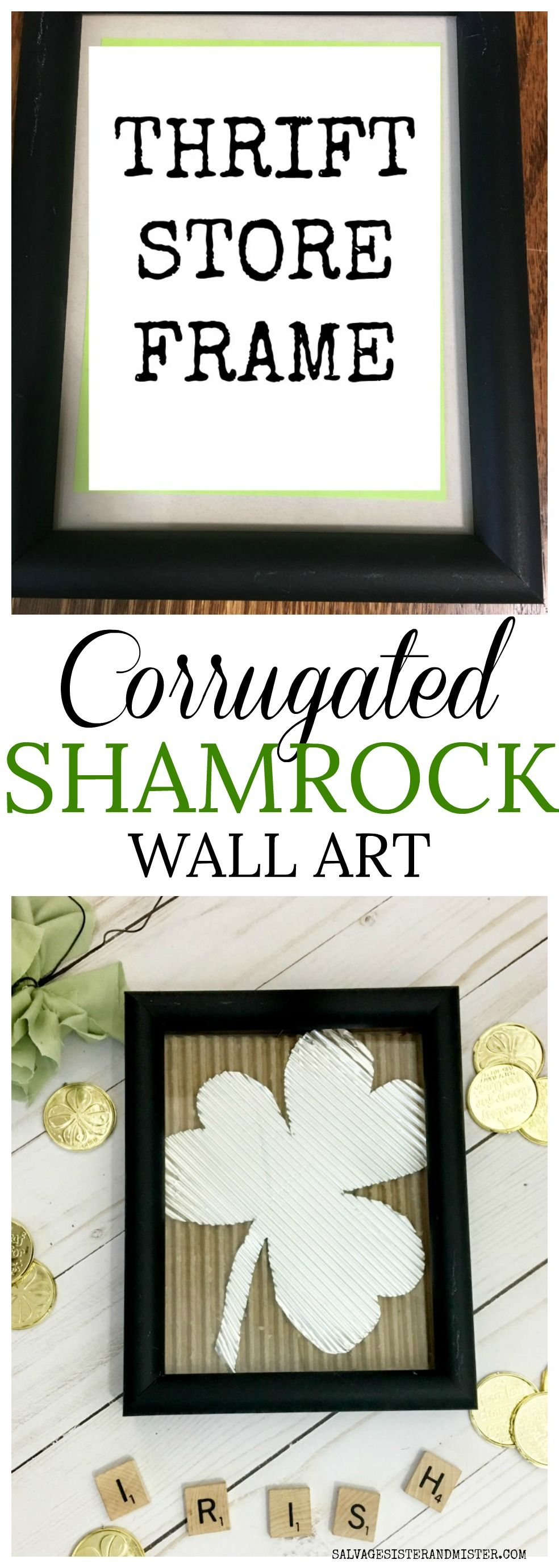 Corrugated DIY Shamrock Wall Art Thrift store crafts