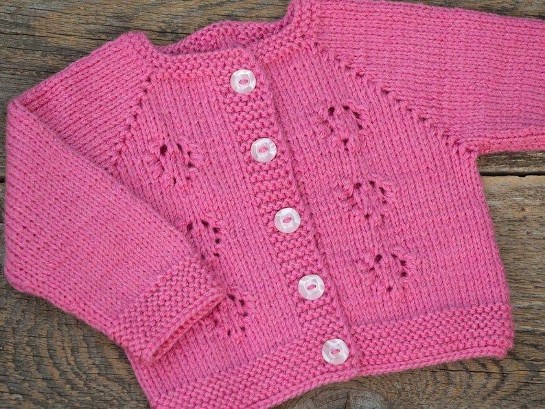 Pink girl pull tricot bébé pull rose enfants cardigan cardigan veste bébé rose baby girl manteau manteau de laine bébé manteau d'hiver pull raglan pull raglan manche