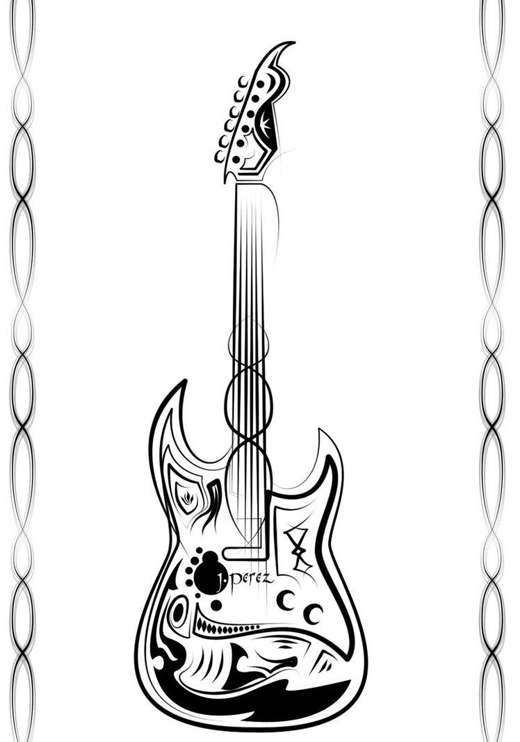 Hello This Is My First Try Of Making A Tribal Guitar Design Im Not Very Happy With The Result But Time Practice Makes Master R