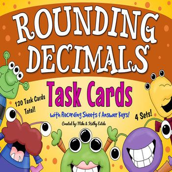 Rounding Decimals: A total of one hundred twenty task cards divided into four sets created to help students practice their skills on rounding decimal numbers. The problems have varying levels of difficulty which will provide excellent practice to students at all skill levels.