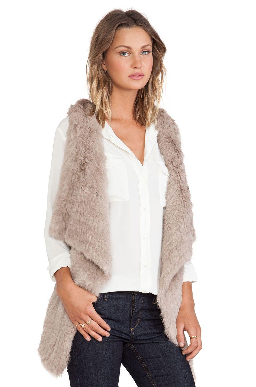 jocelyn Rabbit Fur Knitted Asymmetrical Vest in Mushroom