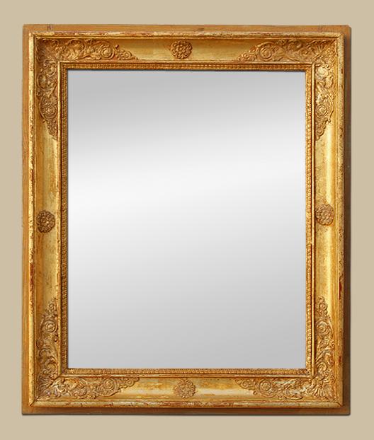 Glace miroir ancien d 39 poque restauration bois dor for Miroir encadrement bois