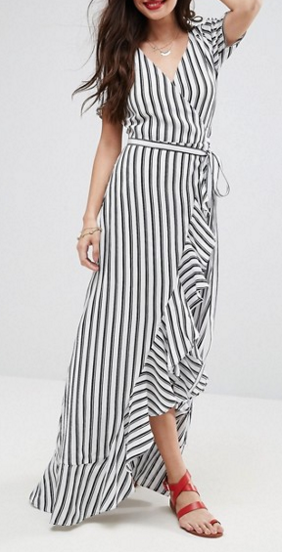 Stripe ruffled maxi dress