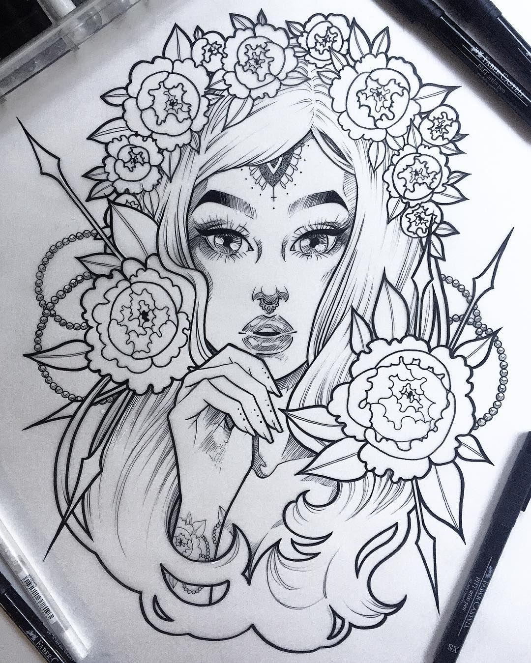 One of two versions of this lass the other will be watercolors for