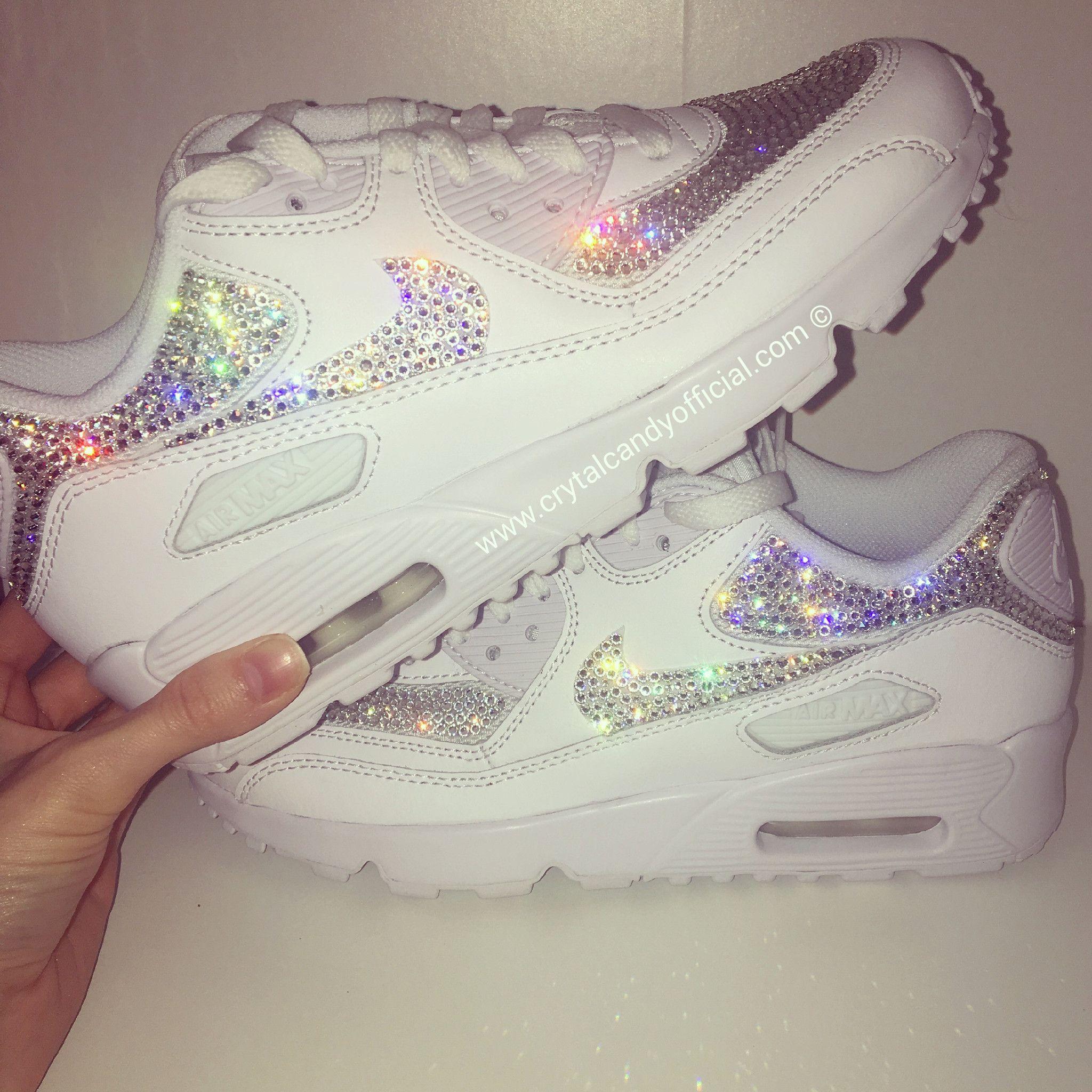 Crystal Nike Air Max 90's in White (fully crystallised) in