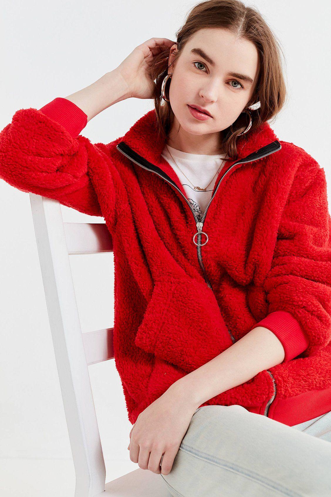 UO Charmane Red Fleece Zip-Front Jacket  1be984810