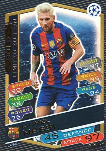 Topps Match Attax Champions League Ucl 20162017 Lionel Messi Gold Limited Edition 1617 Trading Card Check Out The Image By Vis Match Attax Lionel Messi Messi