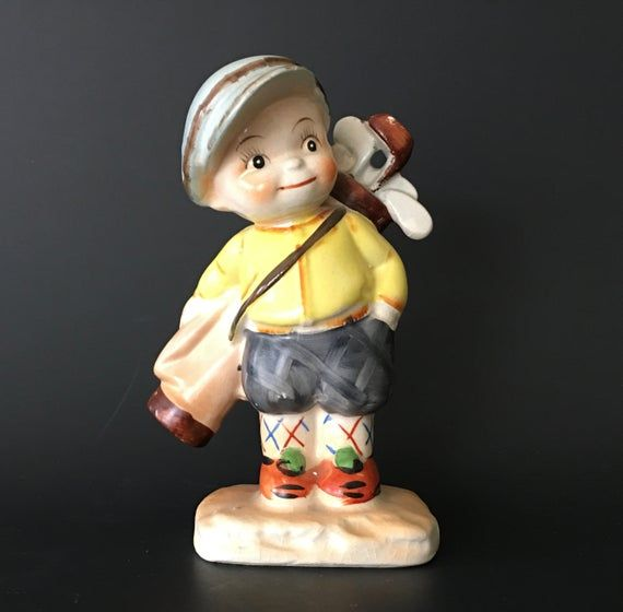 Vintage Porcelain BOY Carrying GOLF BAG Figurine, Little Boy Golfer Knick Knack Made in Japan, Gray #knickknack
